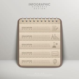 Taccuino di carta riciclata per la progettazione di elementi infografici educativi