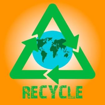 Icona di vettore delle frecce di riciclaggio con il globo terrestre all'interno