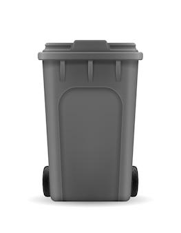 Secchio della spazzatura del bidone di riciclaggio su bianco