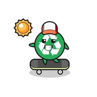 L'illustrazione del personaggio di riciclaggio cavalca uno skateboard, design carino