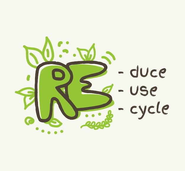 Concetto di riciclaggio con testo 3r, riduzione, riutilizzo, riciclo delle scritte. scarabocchiare, vettore, illustrazione