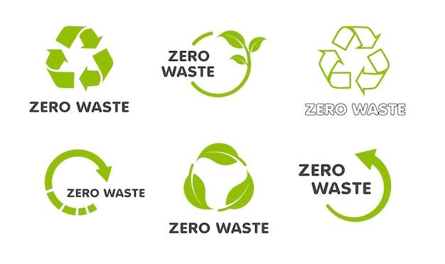 Raccolta di icone di riciclaggio insieme di vettore delle frecce del cerchio verde isolate su fondo bianco
