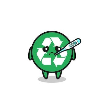 Riciclaggio personaggio mascotte con febbre, design carino