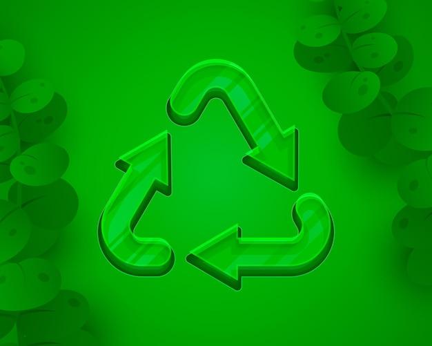 Segno di riciclaggio frecce triangolari ad anello verde icona sfondo bianco vettore