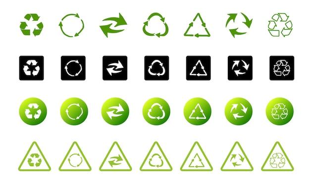 Simbolo del riciclaggio della raccolta di fondi ecologicamente puri