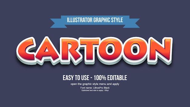 Red 3d cartoon modificabile effetto di testo