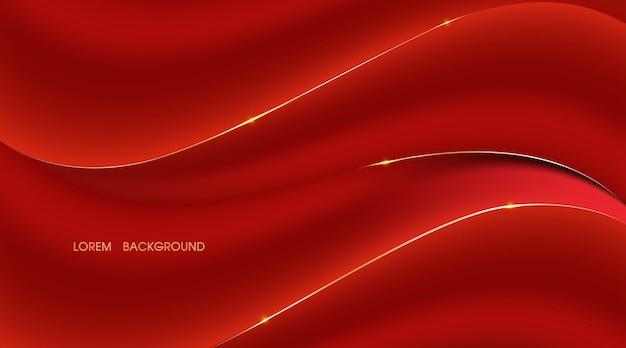 Curva astratta rossa e sfondo ondulato dell'illustrazione