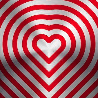 Segno astratto rosso del cuore di san valentino, modello con struttura in metallo realistica