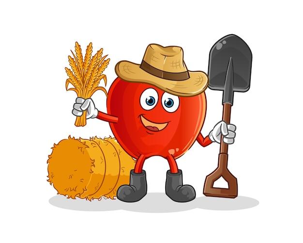 Mascotte del fumetto dell'agricoltore di mela rossa