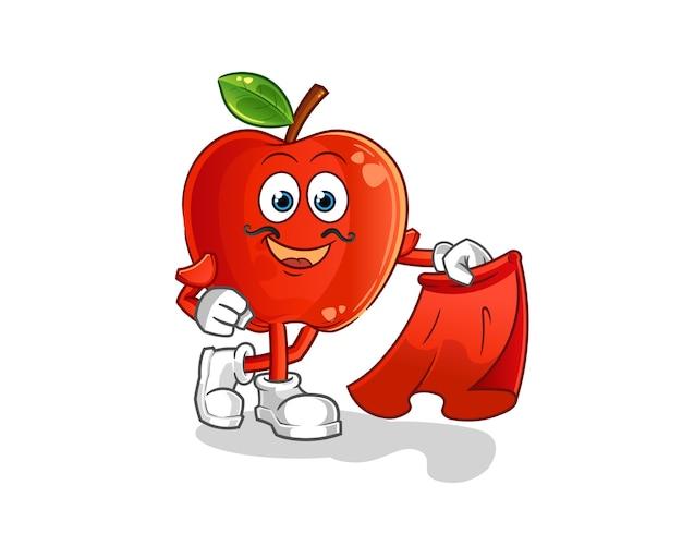 Matador rosso della mela con la mascotte del fumetto del panno rosso