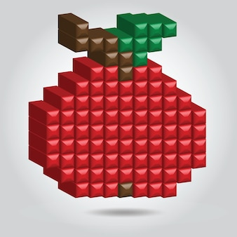 Mela rossa in stile pixel su sfondo bianco