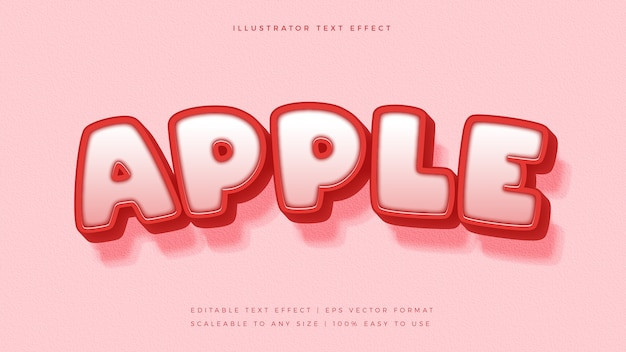 Effetto carattere stile testo mela rossa