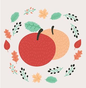 Mela rossa con illustrazione vettoriale foglia