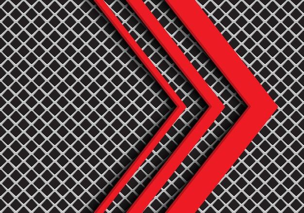 Direzione della freccia rossa su sfondo grigio maglia quadrata.