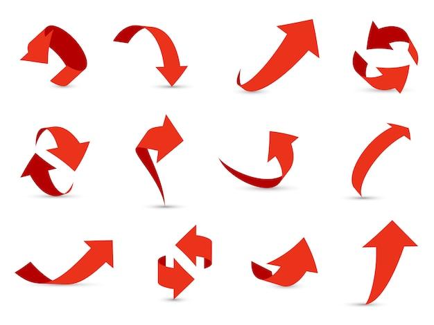 Set di frecce rosse 3d. la crescita della freccia finanziaria diminuisce il percorso informativo diverso verso l'alto nella raccolta del cursore di direzione dell'interfaccia successiva