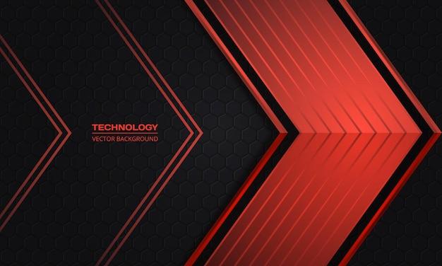 Frecce rosse su uno sfondo astratto esagonale di tecnologia scura
