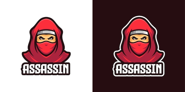Modello logo personaggio mascotte ninja assassino rosso