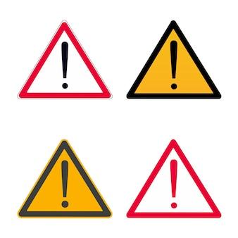 Rosso attenzione punto esclamativo segno di pericolo simbolo o adesivo isolato su sfondo bianco
