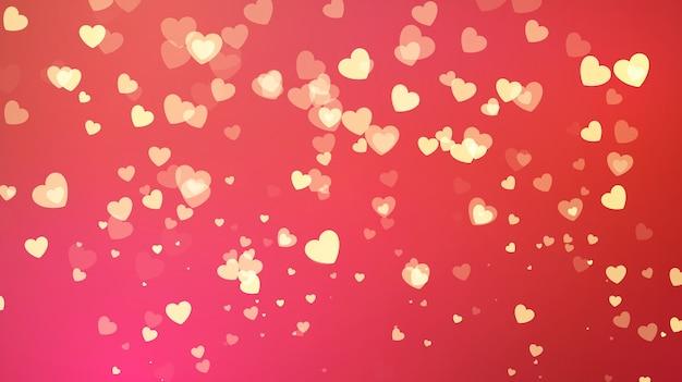 Sfondo rosso con coriandoli cuore d'oro. biglietto di auguri di san valentino. invito a nozze sfondo festa. illustrazione