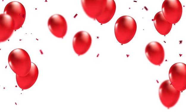 Palloncini festivi di sfondo rosso celebrazione palloncini illustrazione in formato vettoriale