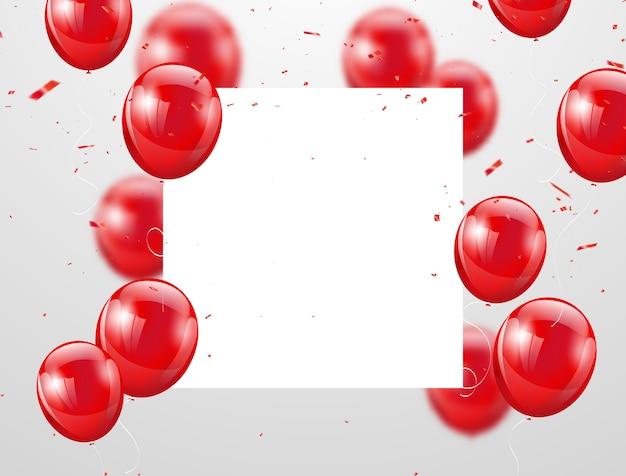 Palloncini rossi celebrazione sullo sfondo