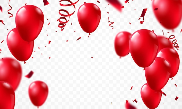 Palloncini rossi, concept design modello vacanza happy valentines day, sfondo celebrazione illustrazione vettoriale.