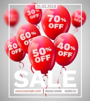 Cornice rossa sconto baloons. concetto di vendita per il commercio di pubblicità negozio mercato negozio.
