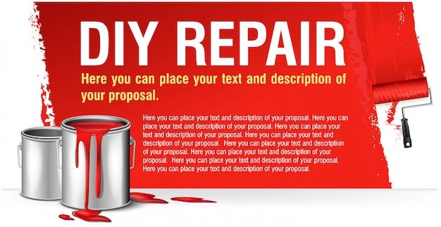 Banner rosso per pubblicità riparazione fai da te con banco di vernice.