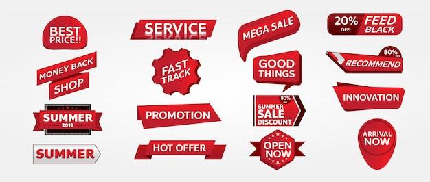 Design di tag promozione banner rosso per il marketing