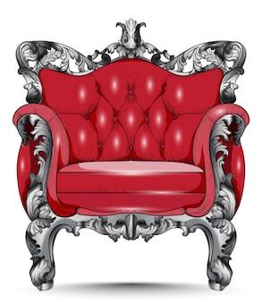 Poltrona barocca rossa. mobili con tessuto ornamentale vittoriano. vector 3d desi realistico