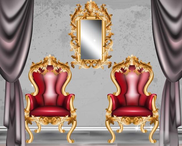 Poltrona glamour barocca rossa. mobili con tessuto ornamentale vittoriano. vettore realistico