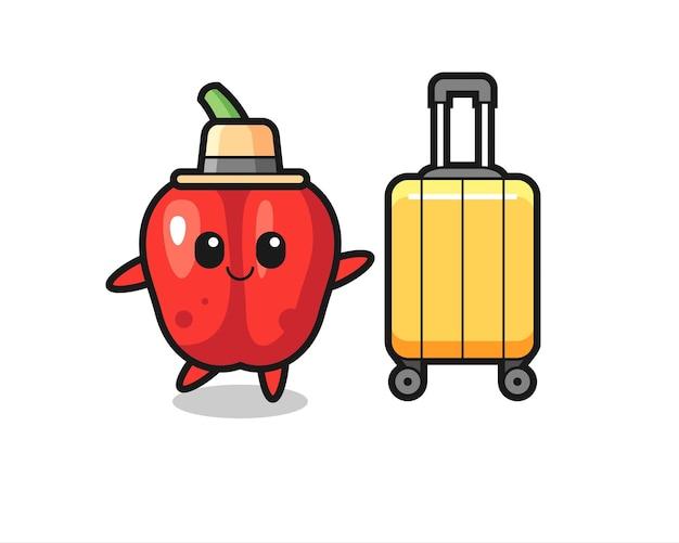 Illustrazione di cartone animato di peperone rosso con bagagli in vacanza