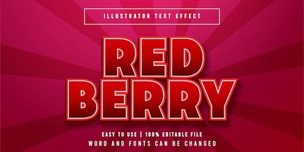 Bacca rossa, titolo del gioco modificabile effetto testo stile grafico