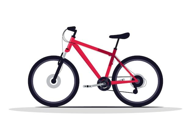 Illustrazione di vettore di colore rgb semi piatto bicicletta rossa. veicolo da corsa all'aperto. trasporto per sport estremo. attrezzatura da allenamento per uno stile di vita attivo. oggetto di cartone animato isolato bici classica su sfondo bianco