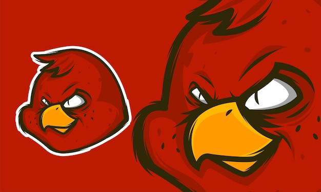 Logo della mascotte di esport dell'uccello rosso illustrazione vettoriale premium