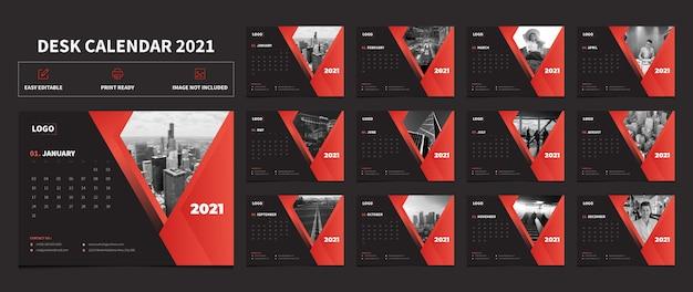 Calendario da tavolo di colore rosso e nero 2021 modello di progettazione