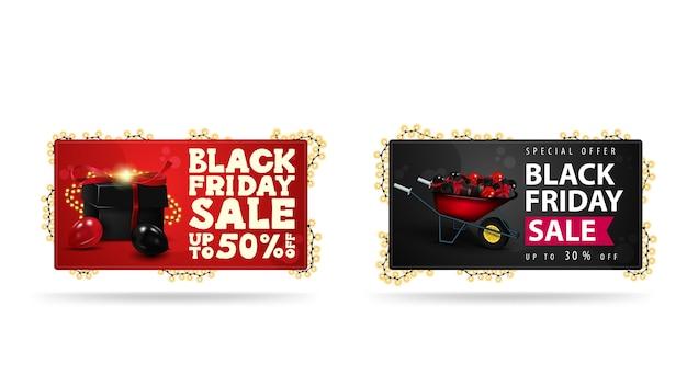 Bandiere orizzontali rosse e nere con regali e carriola con regali per il black friday avvolti con ghirlande isolate