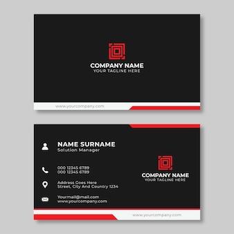 Design professionale biglietto da visita rosso e nero