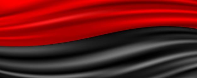 Sfondo astratto tessuto di seta rosso e nero Vettore Premium