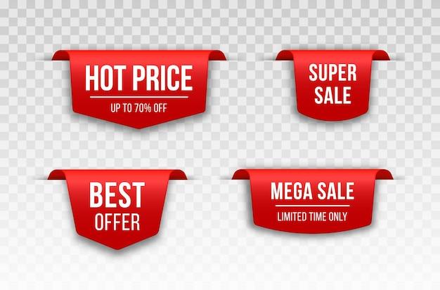 Etichetta di prezzo in bianco rosso nastri e striscioni di vendita impostati 3d icona arruffata con ombra trasparente