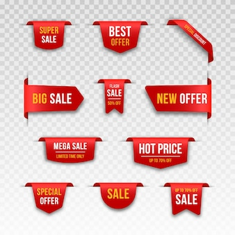 I nastri rossi dell'etichetta del prezzo vuoto e i banner di vendita impostano l'icona opaca 3d con ombra trasparente