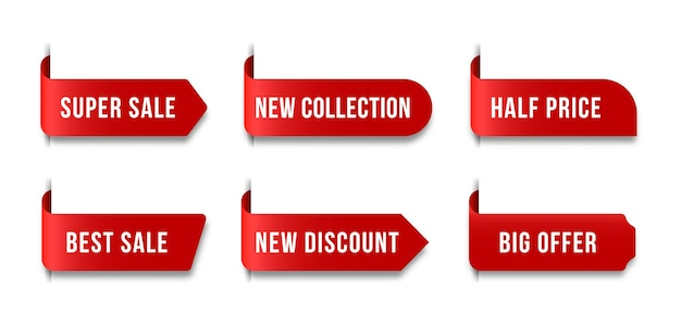 Etichetta del prezzo in bianco rossa set di nastri e striscioni di vendita