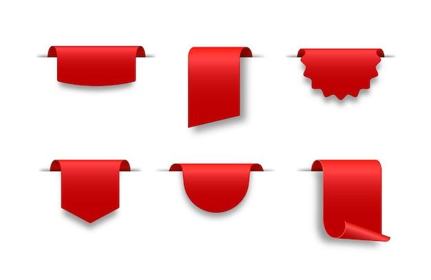 Banner di nastro bianco rosso per il badge di decorazione del titolo dell'intestazione del testo di vendita di promozione pubblicitaria