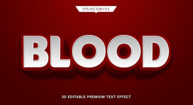 Rosso sangue 3d effetto stile testo modificabile vettore premium