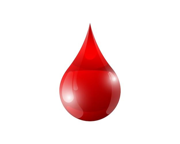 Illustrazione vettoriale isolata goccia di liquido rosso sangue d