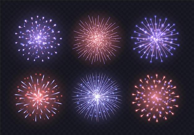 Collezione di fuochi d'artificio rosso-blu, esplosioni realistiche di petardi impostato isolato su uno sfondo trasparente scuro. spettacolo pirotecnico festivo del giorno dell'indipendenza.