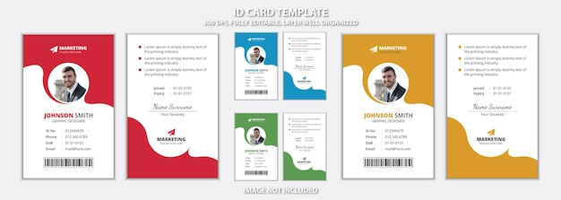 Modello di carta d'identità per ufficio rosso blu verde e giallo