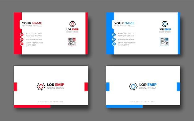 Modello di progettazione di biglietti da visita creativi moderni rossi e blu
