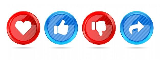 Rosso e blu moderno rotondo lucido 3d come quota di antipatia iscriviti set di pulsanti di social media network icon