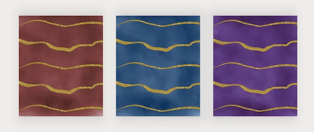 Struttura dell'acquerello rosso, blu e viola con linee glitter dorate